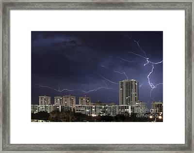 Lightning Bolt In Sky Framed Print by Blink Images