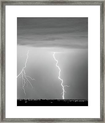 Lightning Bolt With A Fork Bw Framed Print