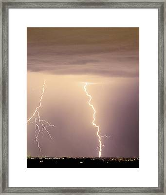 Lightning Bolt With A Fork Framed Print
