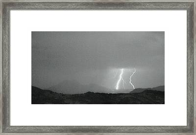 Lightning Bolts Hitting The Continental Divide Bw Crop Framed Print
