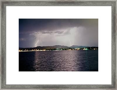 Lightning Lake Framed Print by Trent Mallett