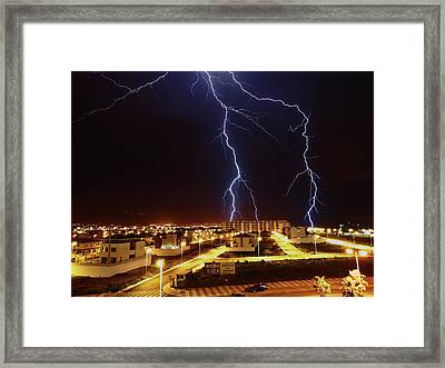 Lightning Framed Print by Miguel Tarso Photo