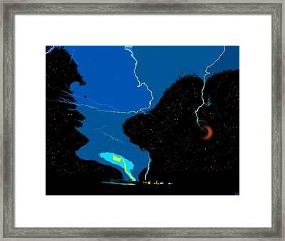 Lightning Moon Framed Print