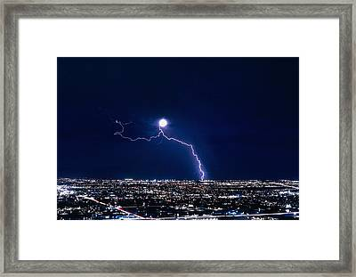 Lightning Strike At Night In Tucson, Arizona, Usa Framed Print