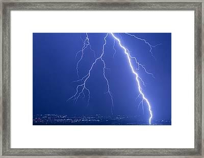 Lightning Strike At Night Near Phoenix, Usa Framed Print