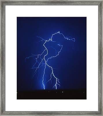 Lightning Strike At Night, Near Tucson, Usa Framed Print