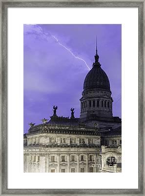 Lightning Strike Framed Print by Balanced Art