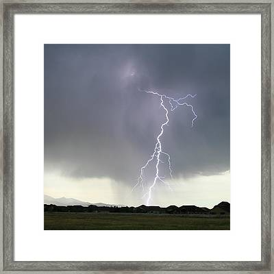 Lightning Strike Framed Print by Bill Dunford