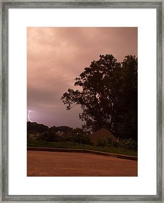 Lightning Strike In Mississippi Framed Print by Joshua House