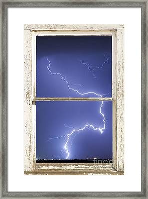Lightning Strike White Barn Picture Window Frame Photo Art  Framed Print by James BO  Insogna