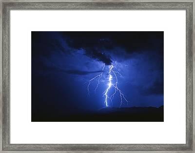 Lightning Strikes Mountain At Night, Arizona, Usa Framed Print