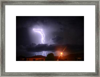 Lightning Strikes Framed Print by Ronald T Williams