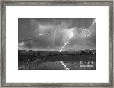 Lightning Striking Longs Peak Foothills 2bw Framed Print by James BO  Insogna