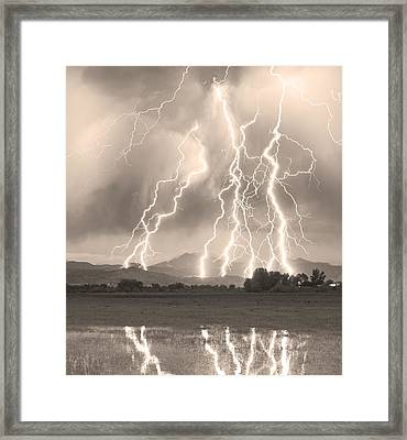 Lightning Striking Longs Peak Foothills 4cbwsepia Framed Print by James BO  Insogna