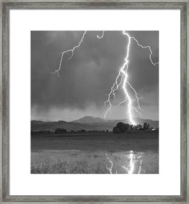 Lightning Striking Longs Peak Foothills 5bw Crop Framed Print by James BO  Insogna
