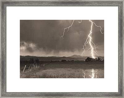 Lightning Striking Longs Peak Foothills 5bw Sepia Framed Print