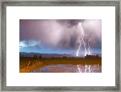 Lightning Striking Longs Peak Foothills 6 Framed Print by James BO  Insogna