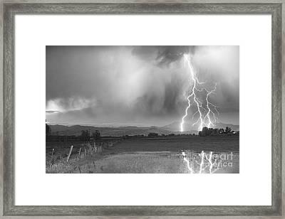 Lightning Striking Longs Peak Foothills 6bw Framed Print by James BO  Insogna