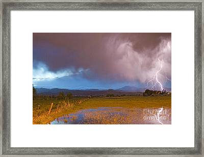 Lightning Striking Longs Peak Foothills 7 Framed Print by James BO  Insogna