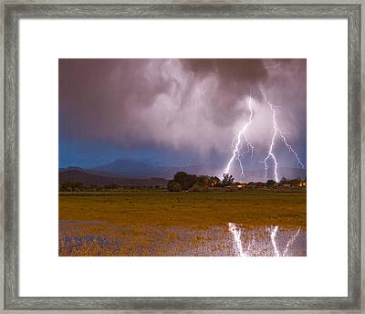 Lightning Striking Longs Peak Foothills 8c Framed Print by James BO  Insogna