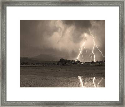 Lightning Striking Longs Peak Foothills 8c Sepia Framed Print by James BO  Insogna