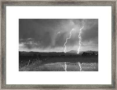 Lightning Striking Longs Peak Foothills Bw Framed Print by James BO  Insogna