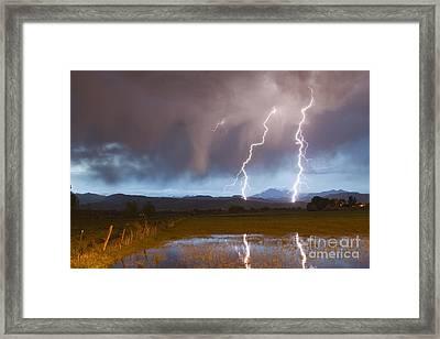 Lightning Striking Longs Peak Foothills Framed Print