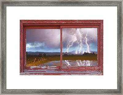 Lightning Striking Longs Peak Red Rustic Picture Window Frame Framed Print by James BO  Insogna