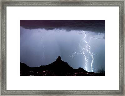 Lightning Thunderstorm At Pinnacle Peak Framed Print by James BO  Insogna