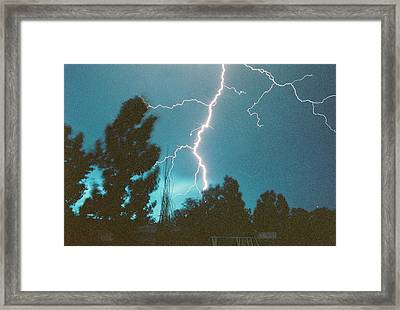 Lightning Tree Framed Print by Trent Mallett