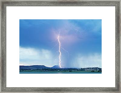 Lightning Twine Striking The Colorado Rocky Mountain Foothills Framed Print
