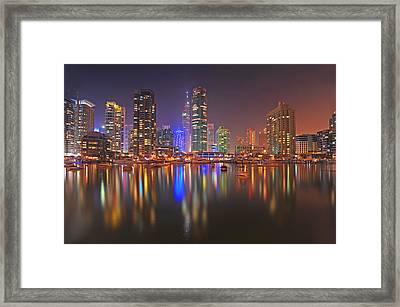 Lights On Dubai Marina Framed Print