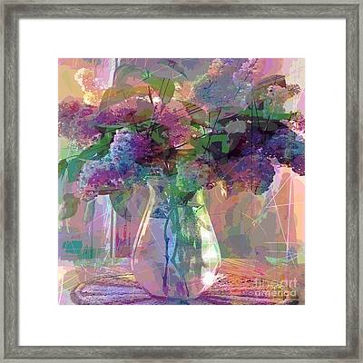 Lilac Cuttings Glass Vase Framed Print by David Lloyd Glover