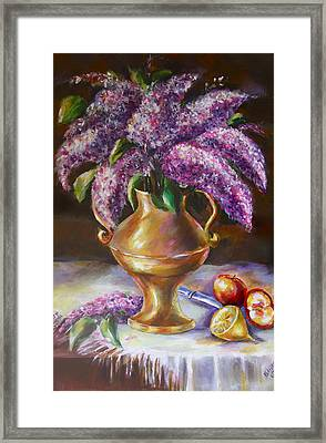 Lilacs In Vase Framed Print by Khatuna Buzzell