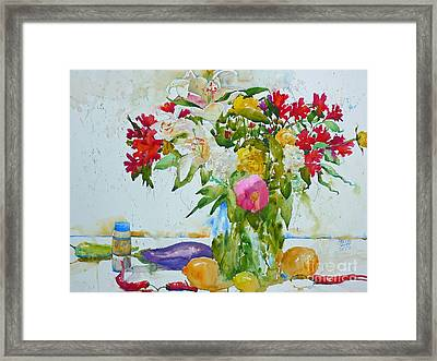 Lilies And Red Peppers Framed Print by Andre MEHU