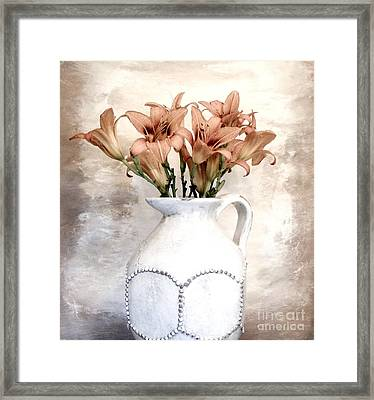 Lilies Pitcher Framed Print by Marsha Heiken