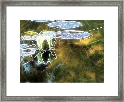 Framed Print featuring the digital art Lily Floating by Odon Czintos