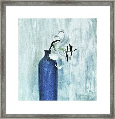 Lily In Blue Framed Print by Marsha Heiken