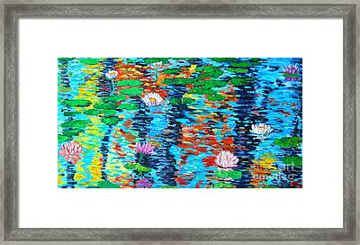 Lily Pond Fall Reflections Framed Print by Ana Maria Edulescu