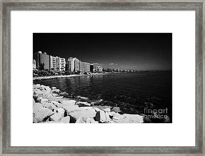 Limassol Seafront And Breakwater In Twin Cities Park On Reclaimed Land Lemesos Republic Of Cyprus Framed Print