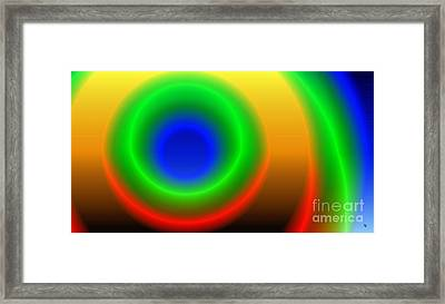 Lime Blue And Tangerine Framed Print by Ron Bissett