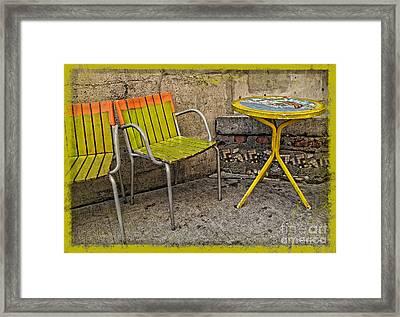 Lime Chairs Framed Print by Joan  Minchak