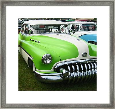 Lime Green 1950s Buick Framed Print by Kym Backland