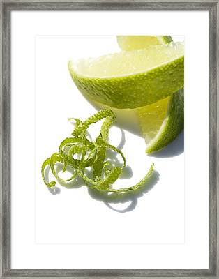 Lime Slices And Peel Framed Print by Jon Stokes