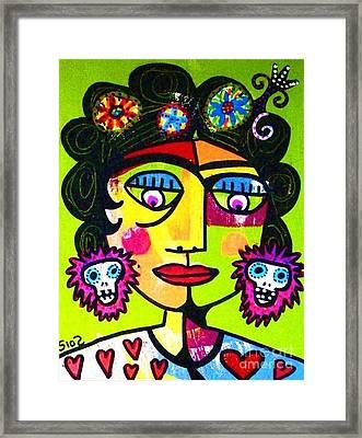 Lime Sugar Skull Frida Framed Print by Sandra Silberzweig