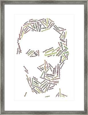 Lincoln As Word Cloud Framed Print