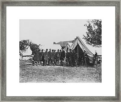 Lincoln At Antietam Framed Print by Photo Researchers