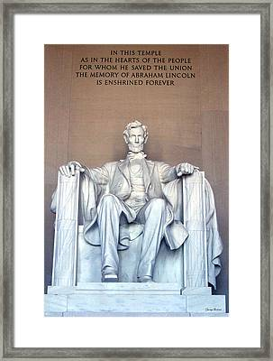 Framed Print featuring the photograph Lincoln Memorial 001 by George Bostian