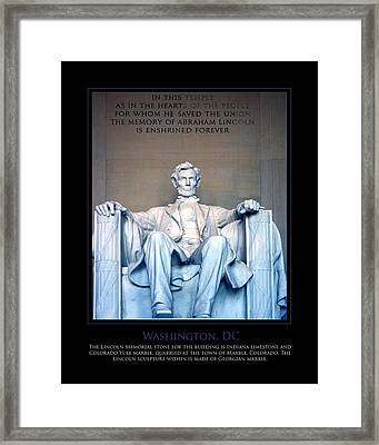 Lincoln Memorial Framed Print by Jim McDonald Photography