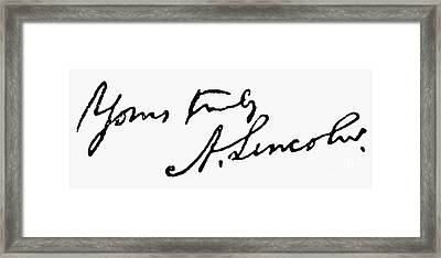 Lincolns Autograph Framed Print by Granger